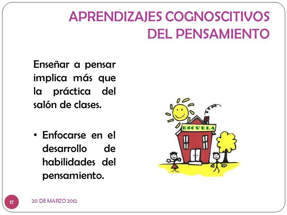 APRENDIZAJES COGNOSCITIVOS DEL PENSAMIENTO
