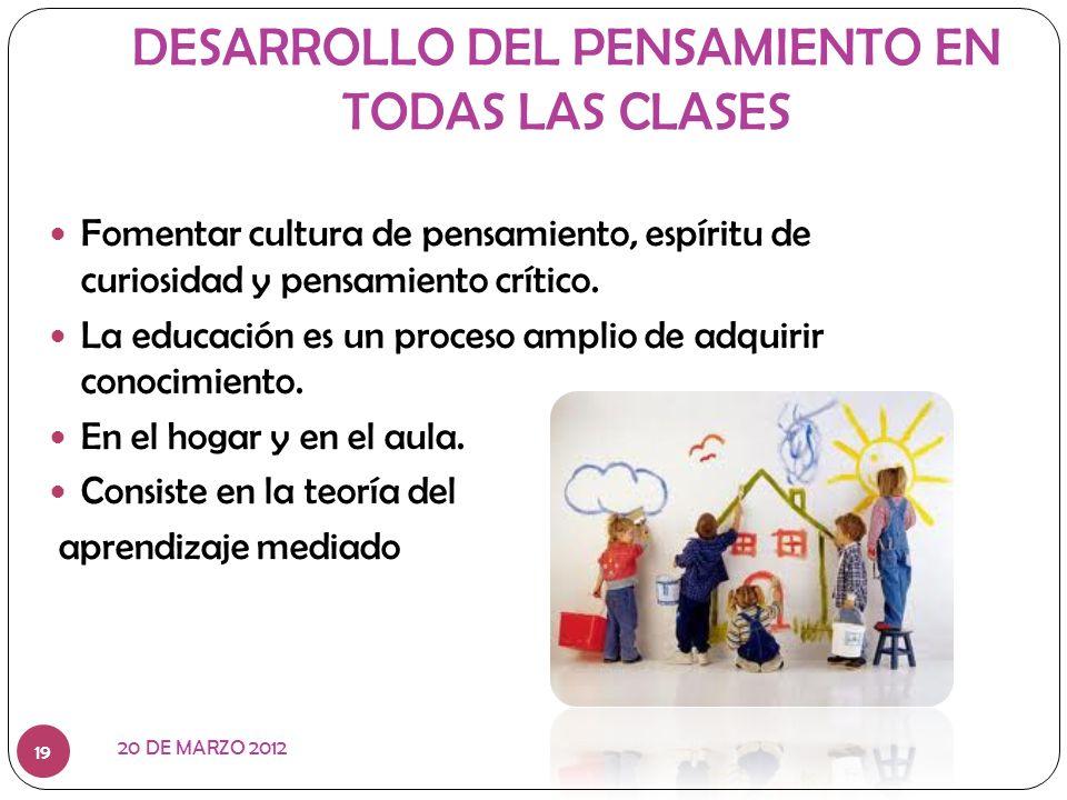 DESARROLLO DEL PENSAMIENTO EN TODAS LAS CLASES