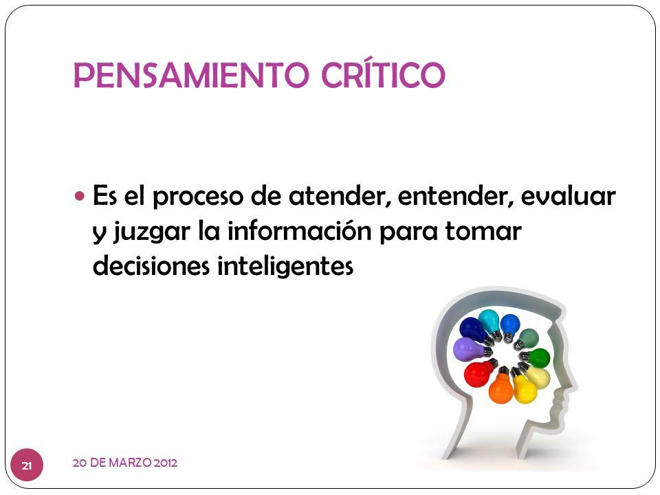 PENSAMIENTO CRÍTICO Es el proceso de atender, entender, evaluar y juzgar la información para tomar decisiones inteligentes.