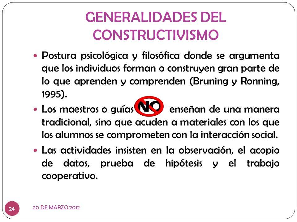 GENERALIDADES DEL CONSTRUCTIVISMO