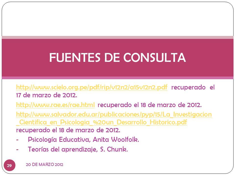 FUENTES DE CONSULTA http://www.scielo.org.pe/pdf/rip/v12n2/a15v12n2.pdf recuperado el 17 de marzo de 2012.