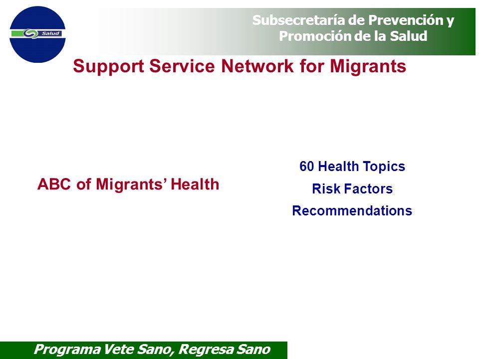 ABC of Migrants' Health