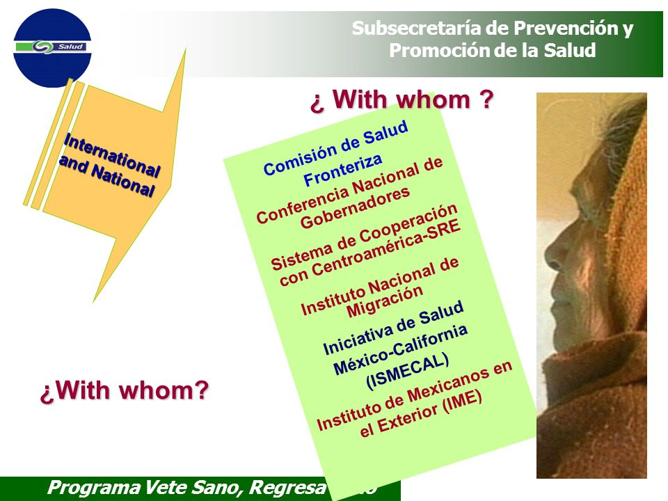 ¿ With whom ¿With whom International and National