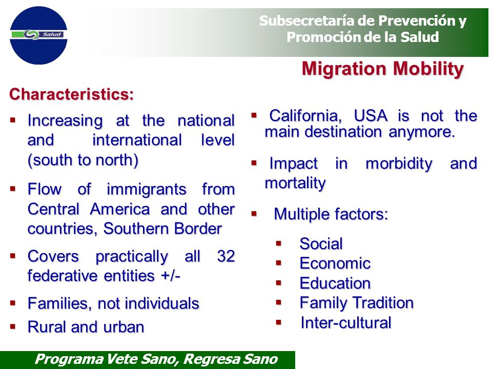 Migration Mobility Characteristics: