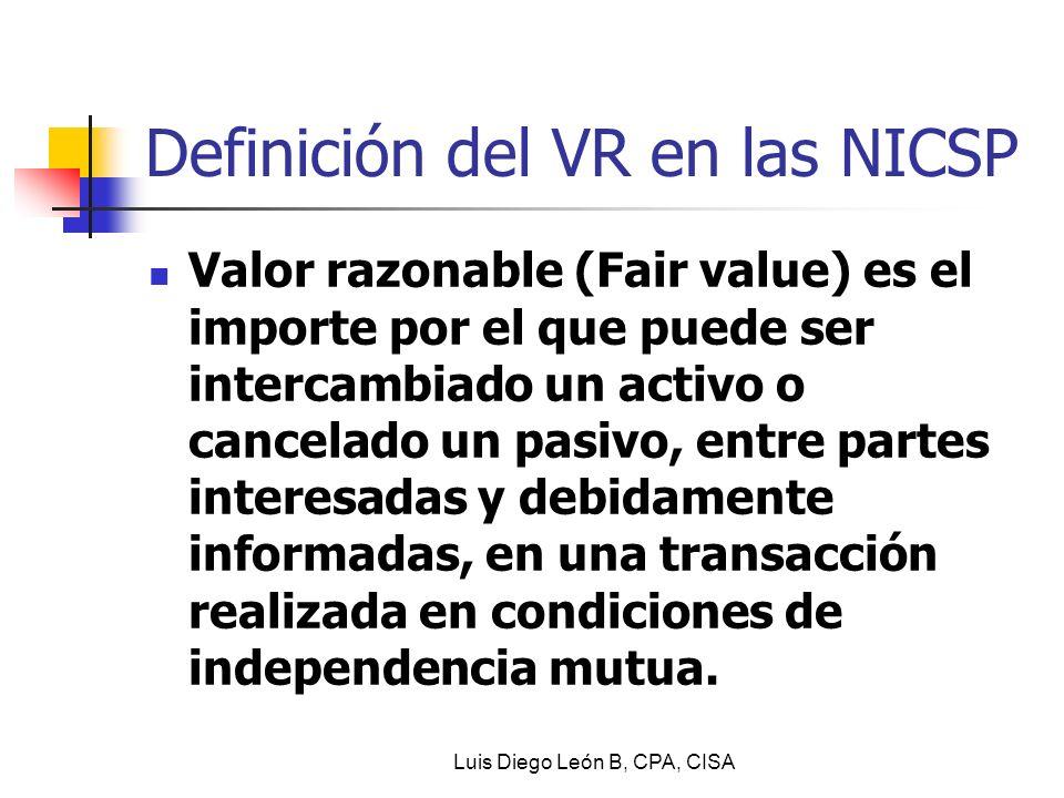 Definición del VR en las NICSP