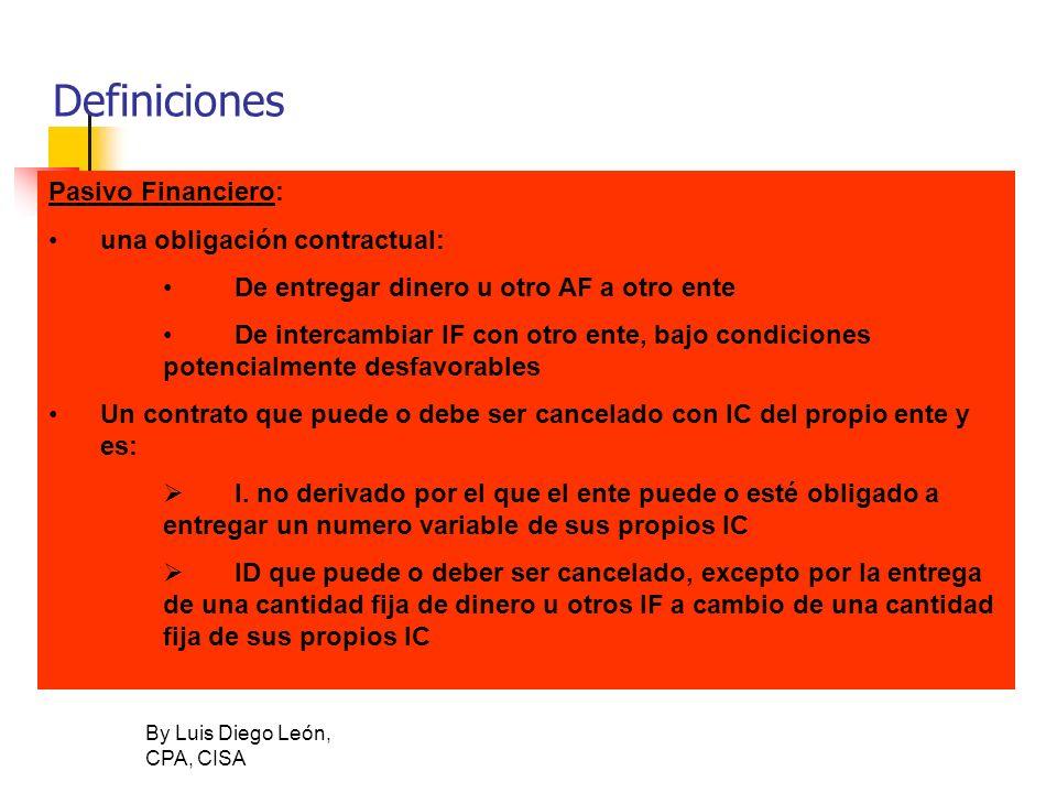 Definiciones Pasivo Financiero: una obligación contractual: