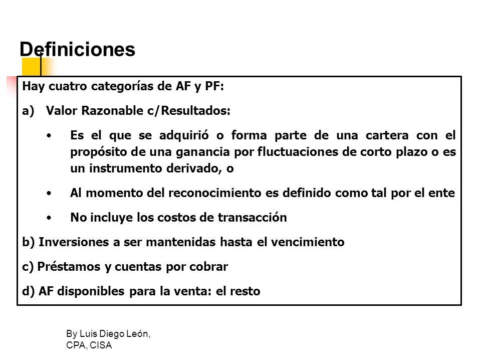 Definiciones Hay cuatro categorías de AF y PF: