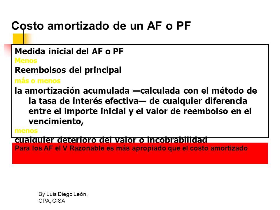 Costo amortizado de un AF o PF