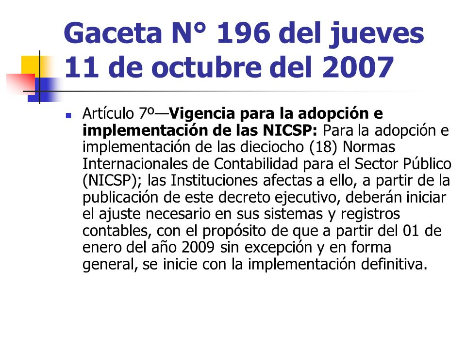 Gaceta N° 196 del jueves 11 de octubre del 2007