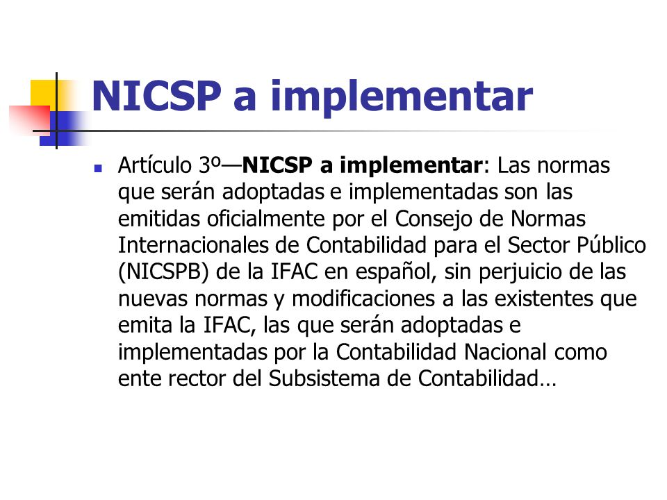 NICSP a implementar
