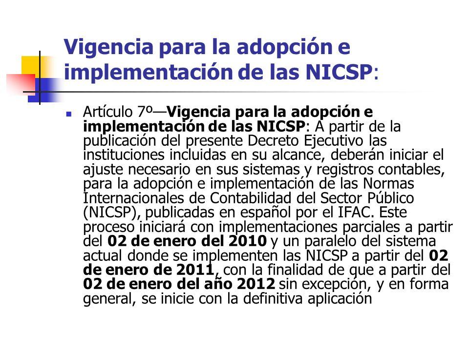 Vigencia para la adopción e implementación de las NICSP: