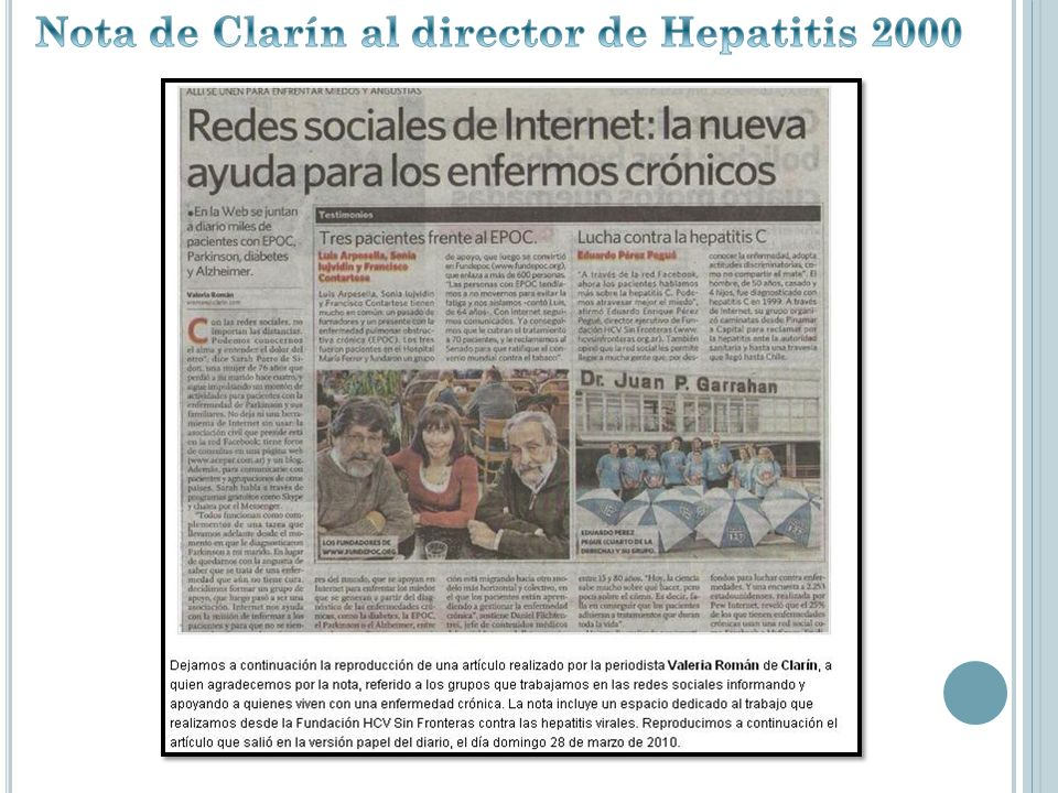 Nota de Clarín al director de Hepatitis 2000