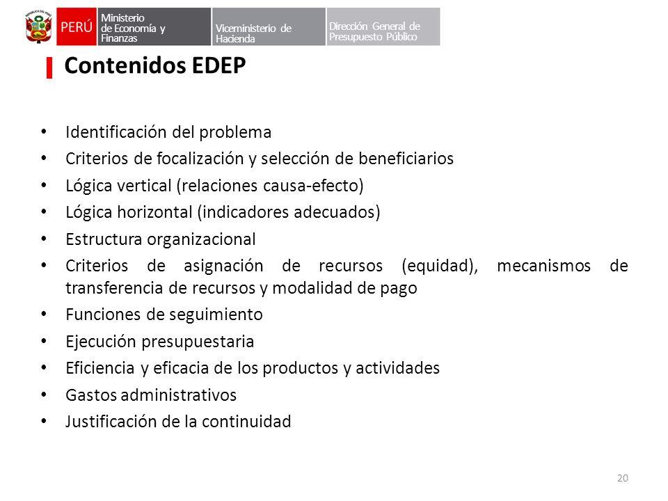 Contenidos EDEP Identificación del problema
