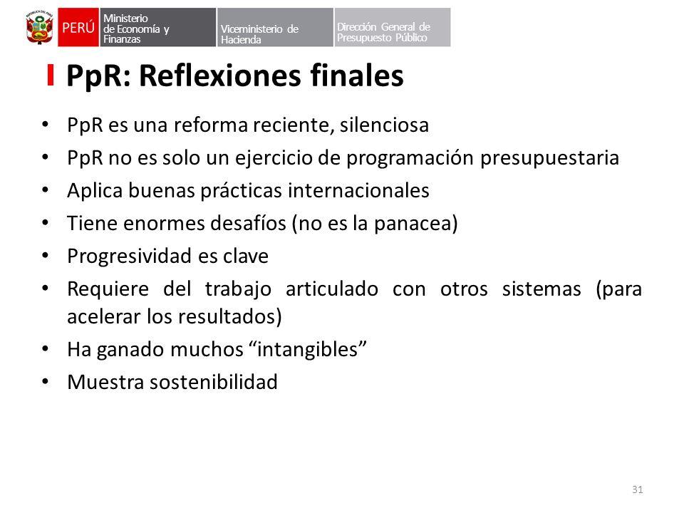 PpR: Reflexiones finales