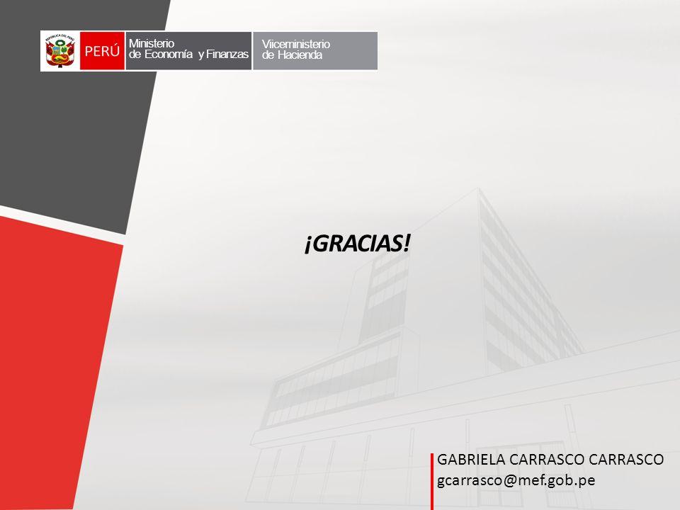 ¡GRACIAS! GABRIELA CARRASCO CARRASCO gcarrasco@mef.gob.pe Ministerio