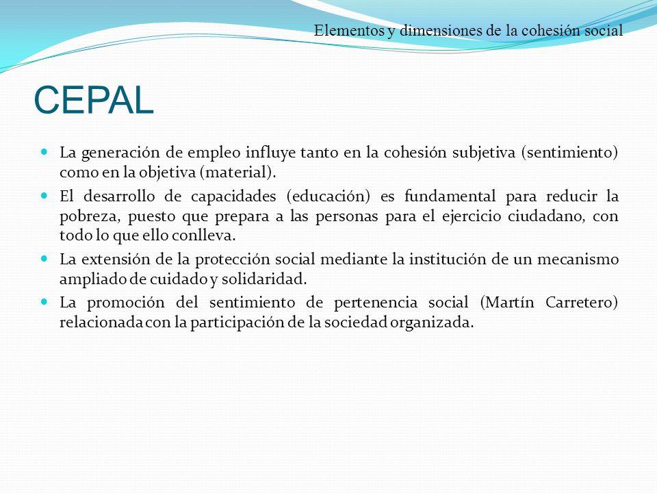 CEPAL Elementos y dimensiones de la cohesión social