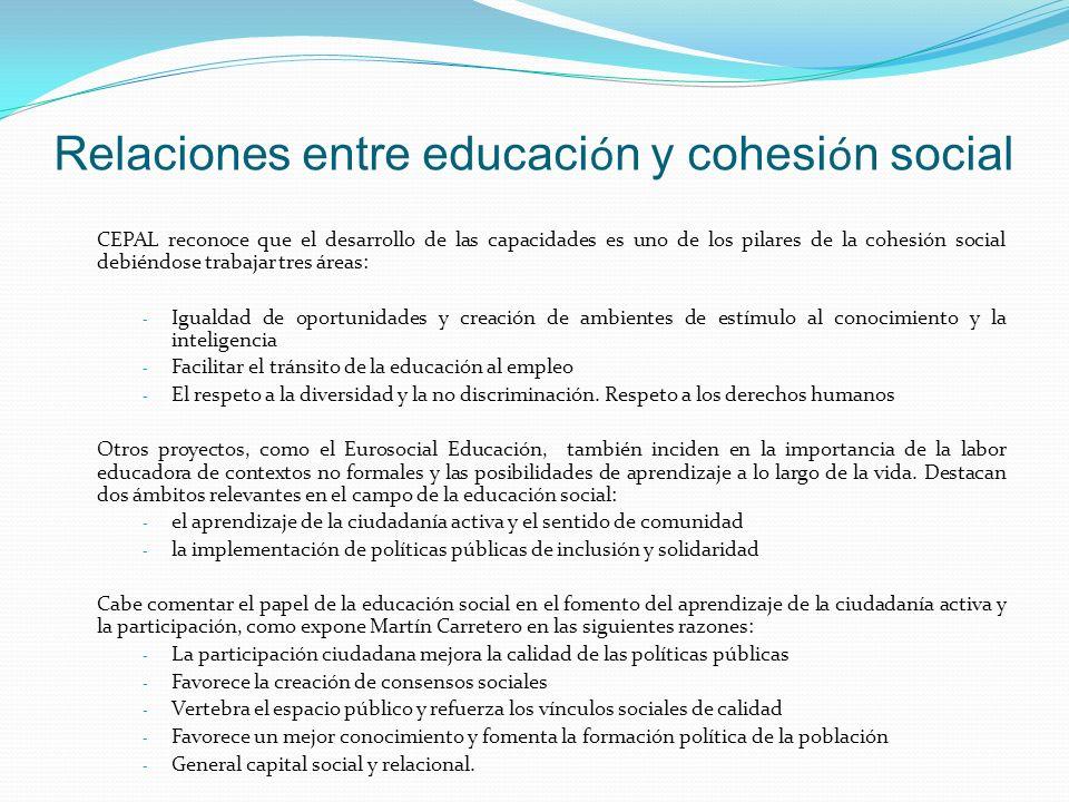 Relaciones entre educación y cohesión social