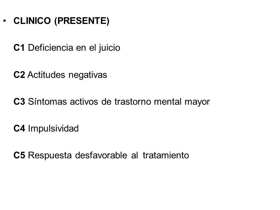 CLINICO (PRESENTE) C1 Deficiencia en el juicio. C2 Actitudes negativas C3 Síntomas activos de trastorno mental mayor.