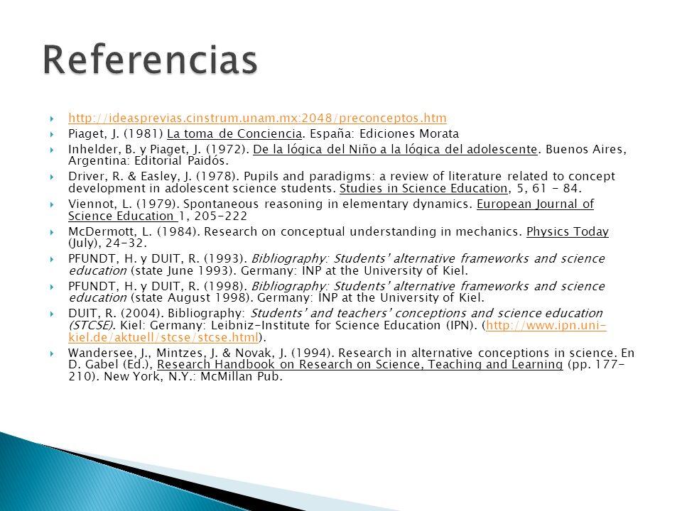 Referencias http://ideasprevias.cinstrum.unam.mx:2048/preconceptos.htm