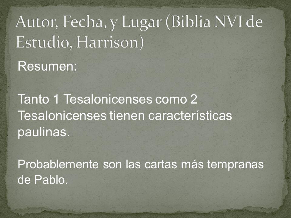 Autor, Fecha, y Lugar (Biblia NVI de Estudio, Harrison)