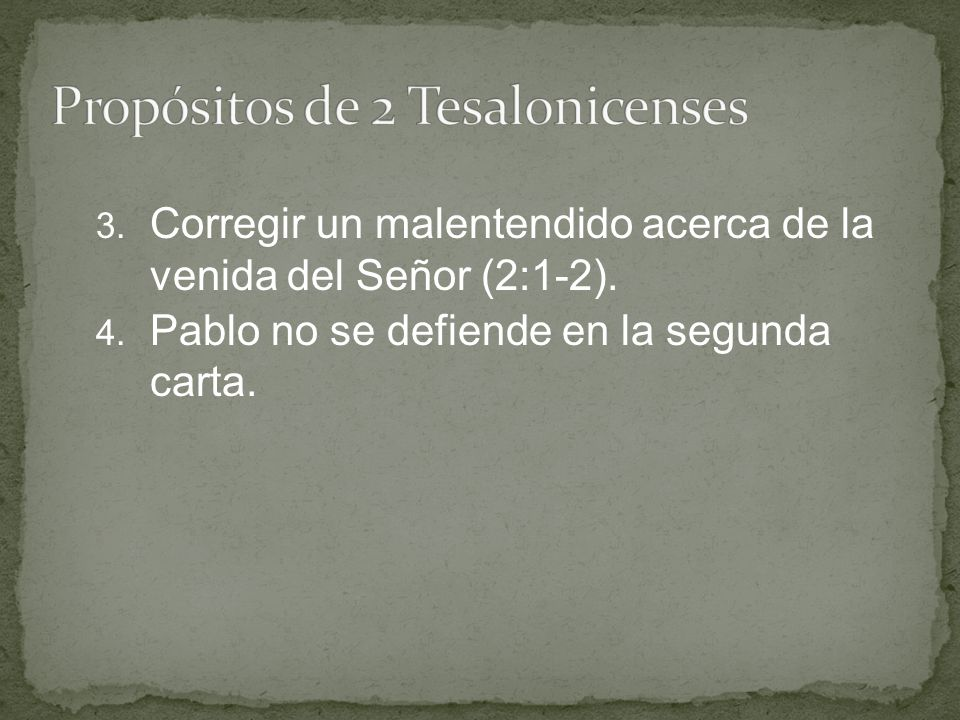 Propósitos de 2 Tesalonicenses