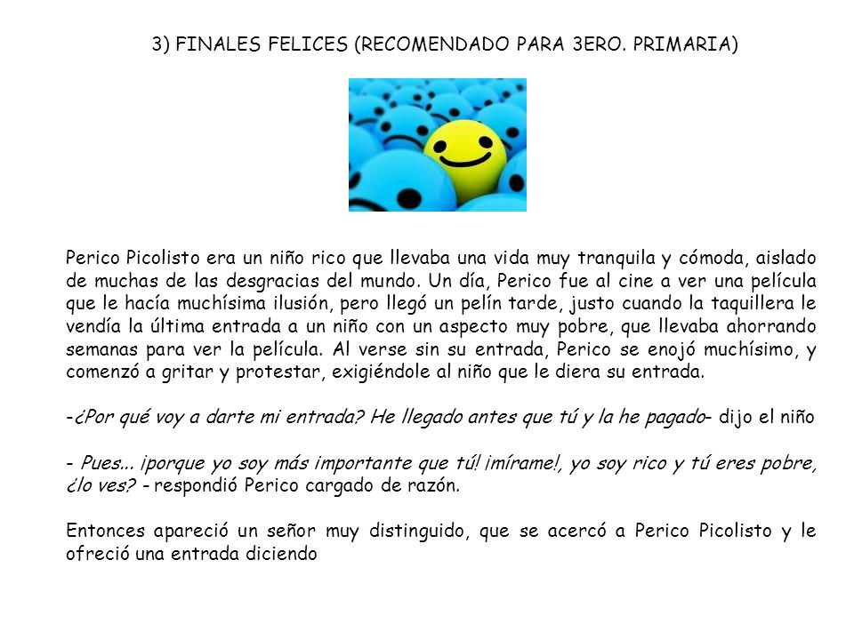 3) FINALES FELICES (RECOMENDADO PARA 3ERO. PRIMARIA)