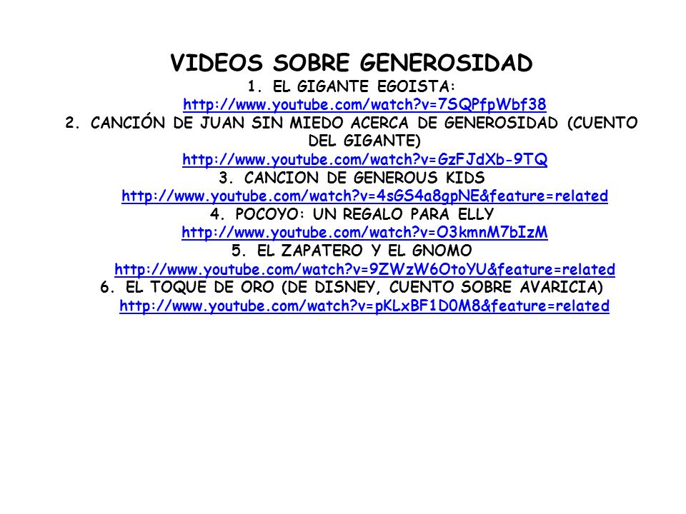 VIDEOS SOBRE GENEROSIDAD