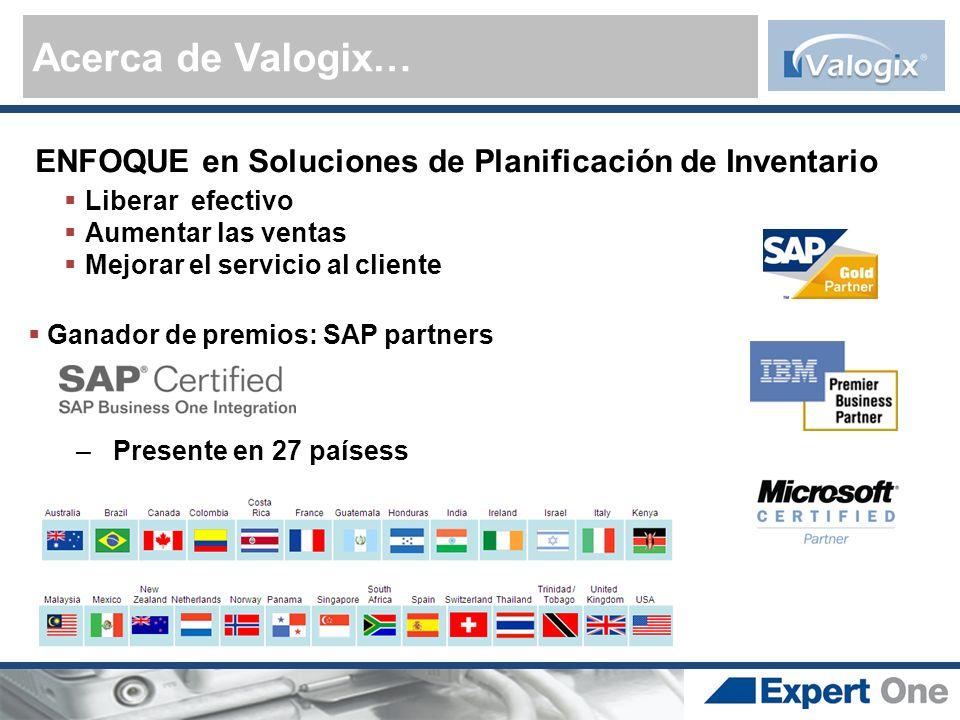 Acerca de Valogix… ENFOQUE en Soluciones de Planificación de Inventario. Liberar efectivo. Aumentar las ventas.