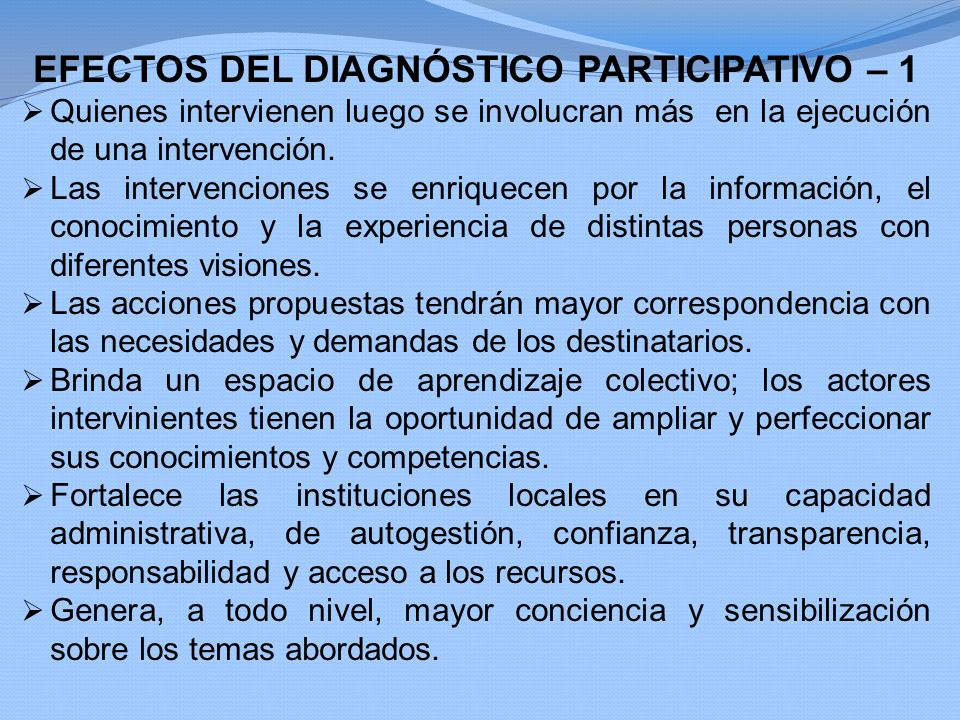 EFECTOS DEL DIAGNÓSTICO PARTICIPATIVO – 1