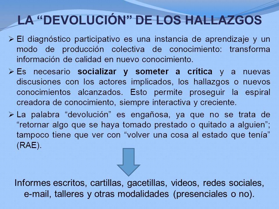LA DEVOLUCIÓN DE LOS HALLAZGOS