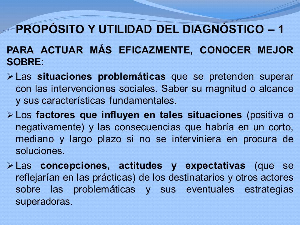 PROPÓSITO Y UTILIDAD DEL DIAGNÓSTICO – 1