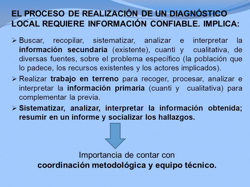 Importancia de contar con coordinación metodológica y equipo técnico.