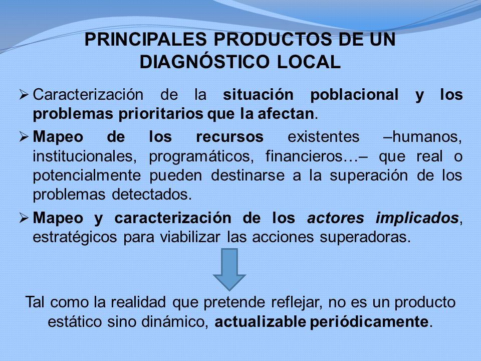 PRINCIPALES PRODUCTOS DE UN DIAGNÓSTICO LOCAL