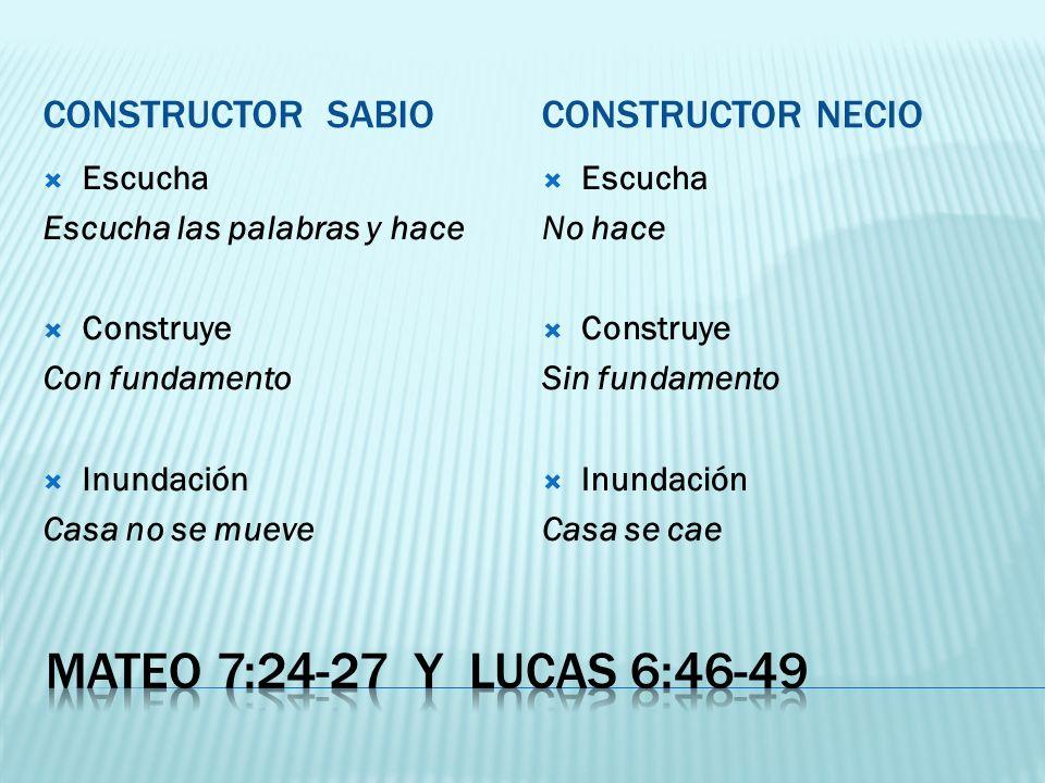 Mateo 7:24-27 y lucas 6:46-49 Constructor sabio Constructor necio