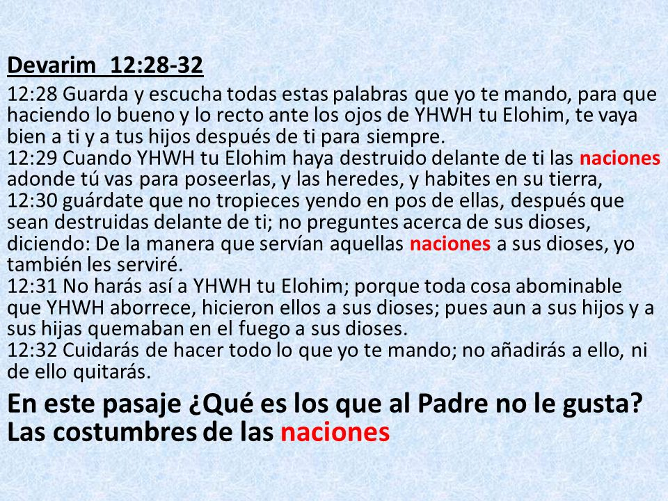 Devarim 12:28-32