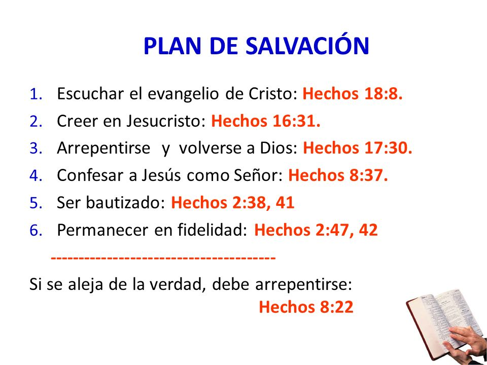 PLAN DE SALVACIÓN Escuchar el evangelio de Cristo: Hechos 18:8.