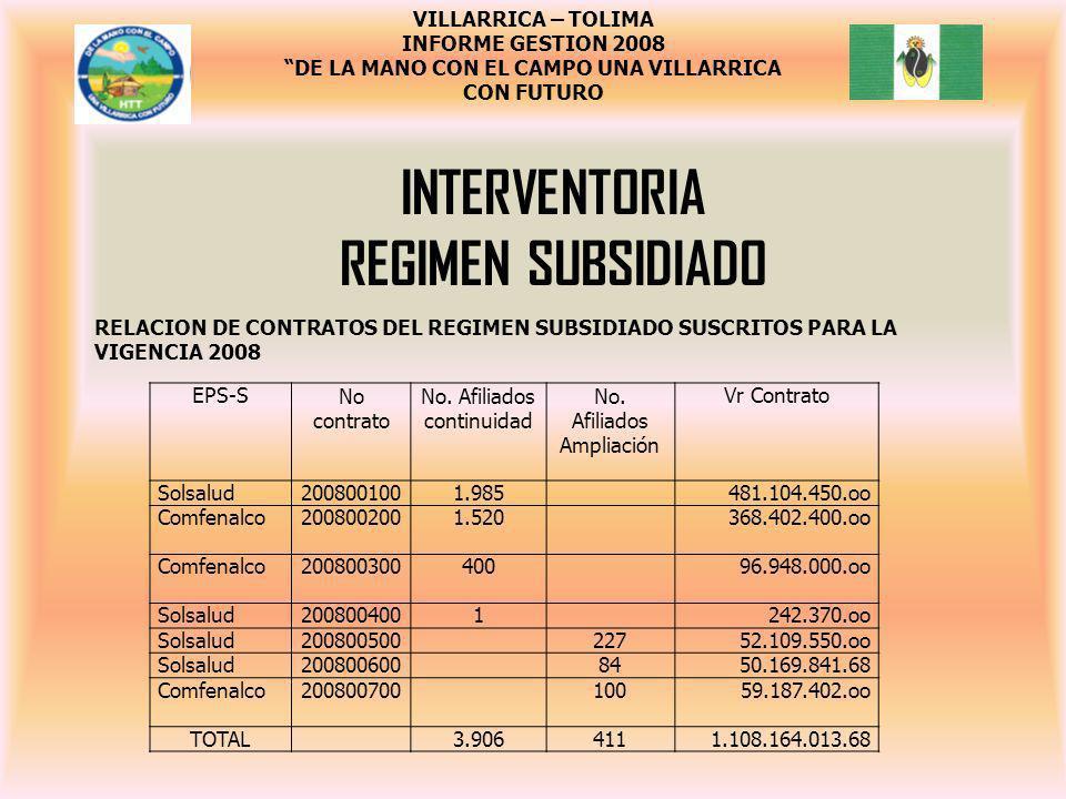 Interventoria regimen subsidiado