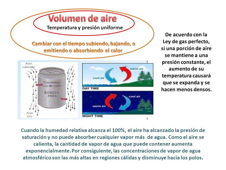 Volumen de aire Temperatura y presión uniforme