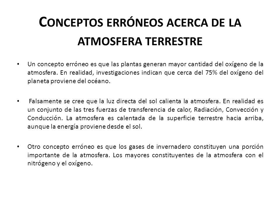 Conceptos erróneos acerca de la atmosfera terrestre