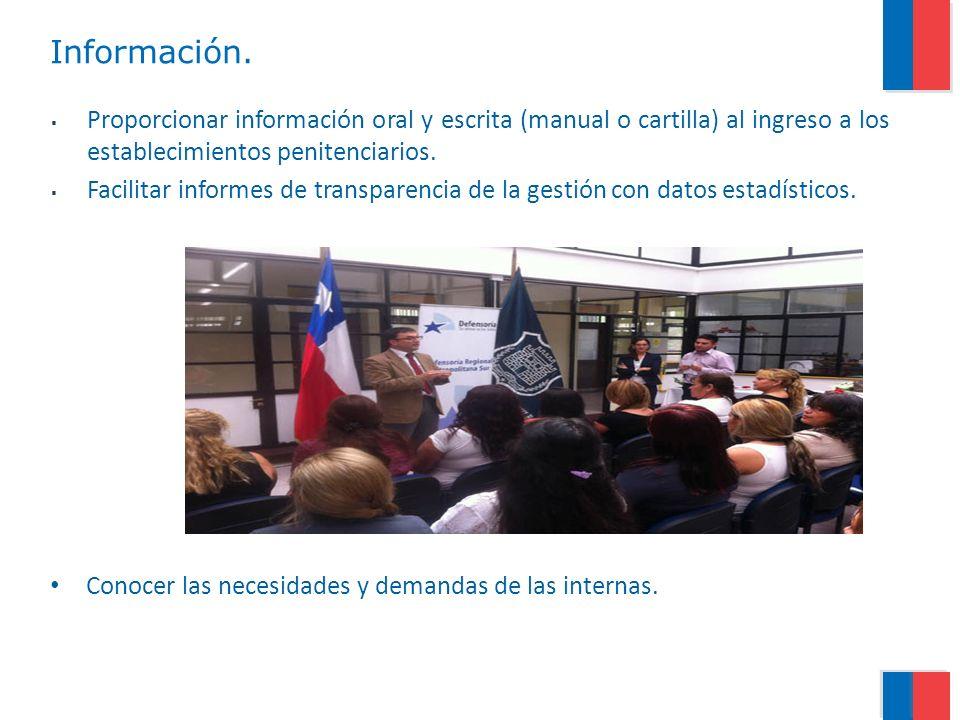 Información. Proporcionar información oral y escrita (manual o cartilla) al ingreso a los establecimientos penitenciarios.
