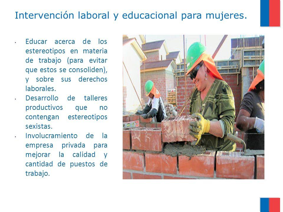 Intervención laboral y educacional para mujeres.