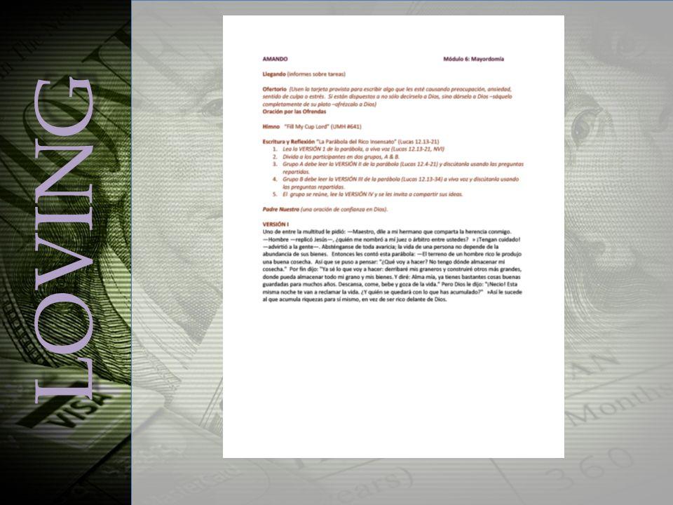 LOVING Module 6, Stewardship Slide 3 Ofertorio