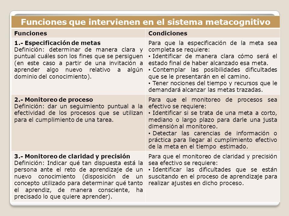 Funciones que intervienen en el sistema metacognitivo