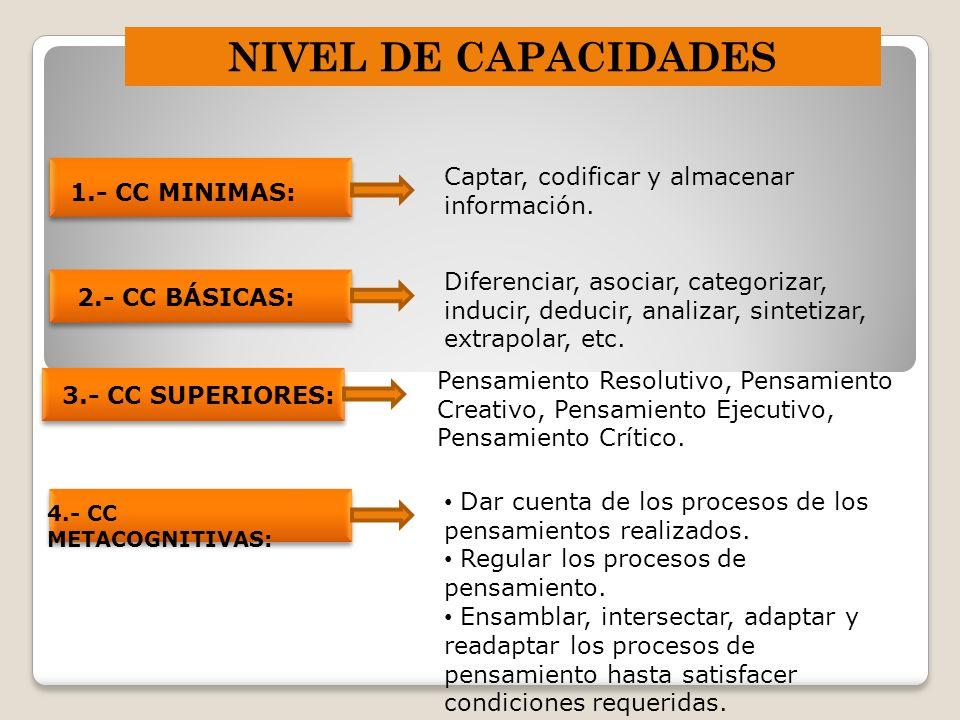 NIVEL DE CAPACIDADES Captar, codificar y almacenar información.