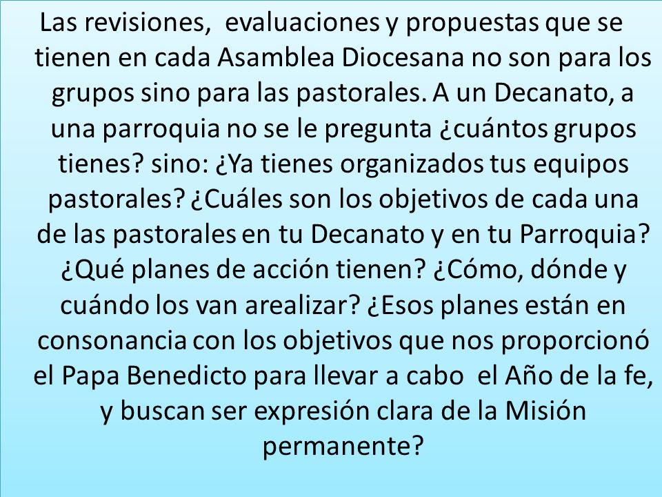Las revisiones, evaluaciones y propuestas que se tienen en cada Asamblea Diocesana no son para los grupos sino para las pastorales.