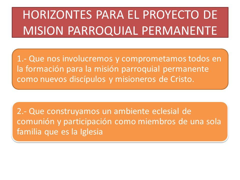 HORIZONTES PARA EL PROYECTO DE MISION PARROQUIAL PERMANENTE