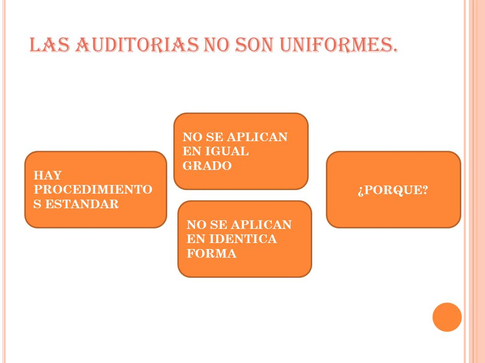 LAS AUDITORIAS NO SON UNIFORMES.