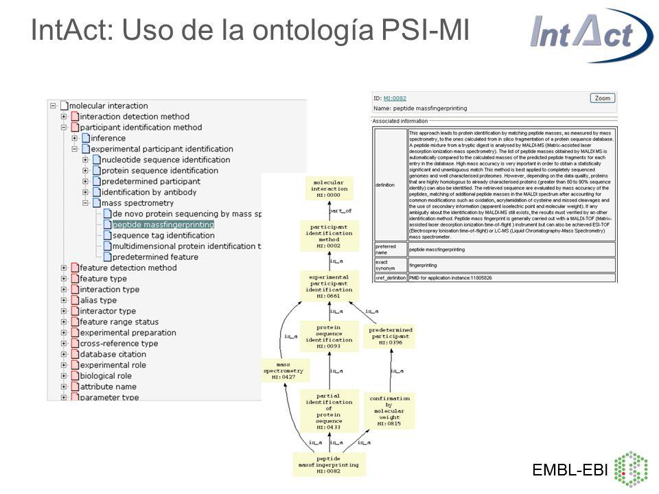 IntAct: Uso de la ontología PSI-MI