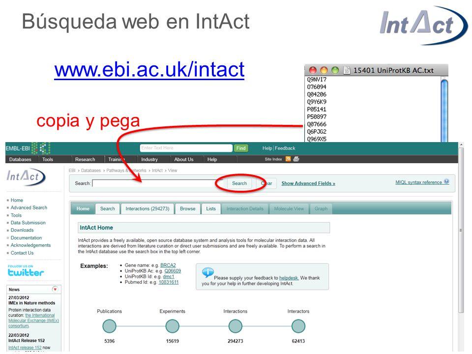 Búsqueda web en IntAct www.ebi.ac.uk/intact copia y pega