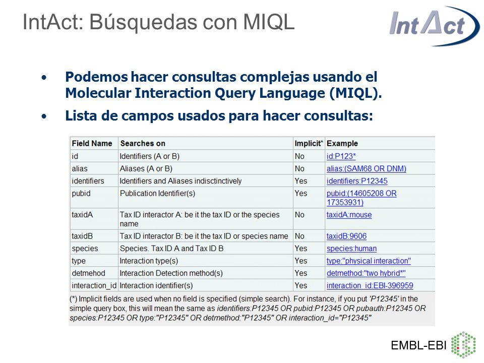 IntAct: Búsquedas con MIQL